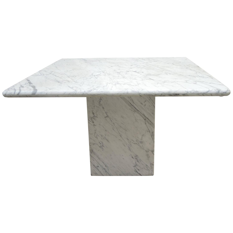 Mid Century Modern Minimalist Italian White Carrara Marble Pedestal Dining  Table