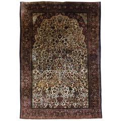 Antique Persian Silk 'Souf' Kashan Prayer Rug