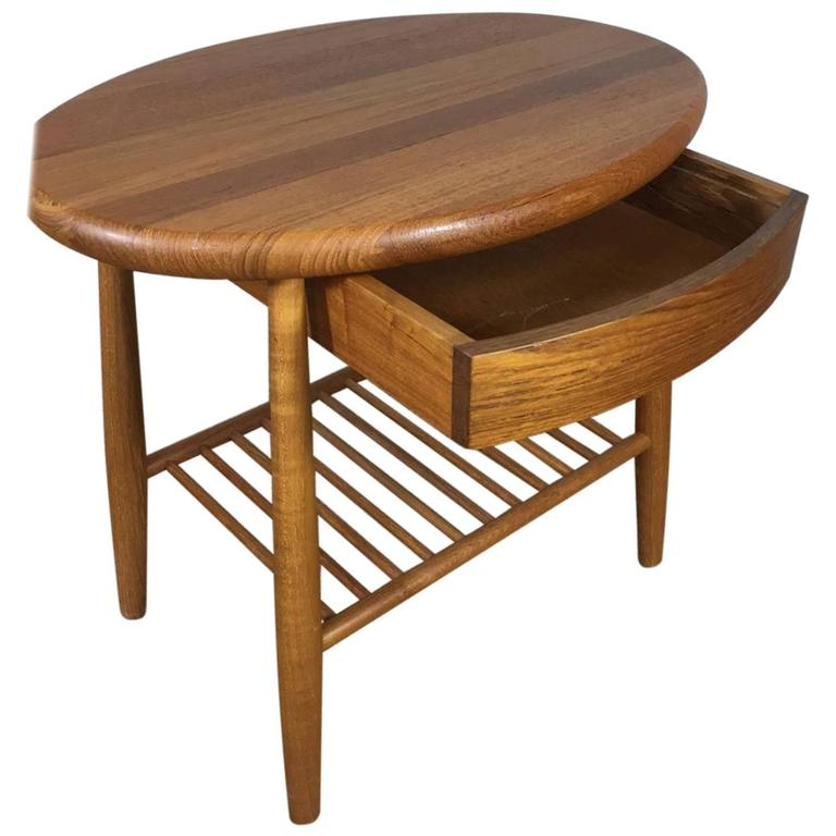Solid Teak Side Table With Drawer And Magazine Shelf At Stdibs - Teak side table with drawer