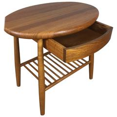 Solid Teak Side Table with Drawer and Magazine Shelf