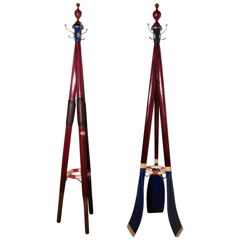 Pair of Hall Stands with a Rowing Theme, 19th Century Sculling Oars