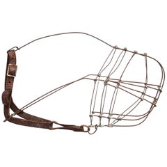 Early 20th Century Primitive Leather and Wire Greyhound Dog Race Muzzle