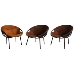 Three Leather Chairs by Lusch Erzeugnis