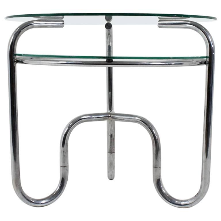 Bauhaus Czech Tubular Steel Chrome And Glass Table 1930s Functionalism For Sale At 1stdibs