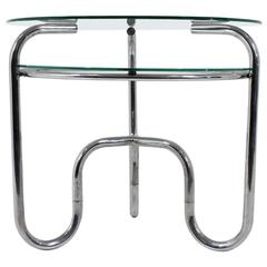 Bauhaus Czech Tubular Steel Chrome and Glass Table, 1930s, Functionalism