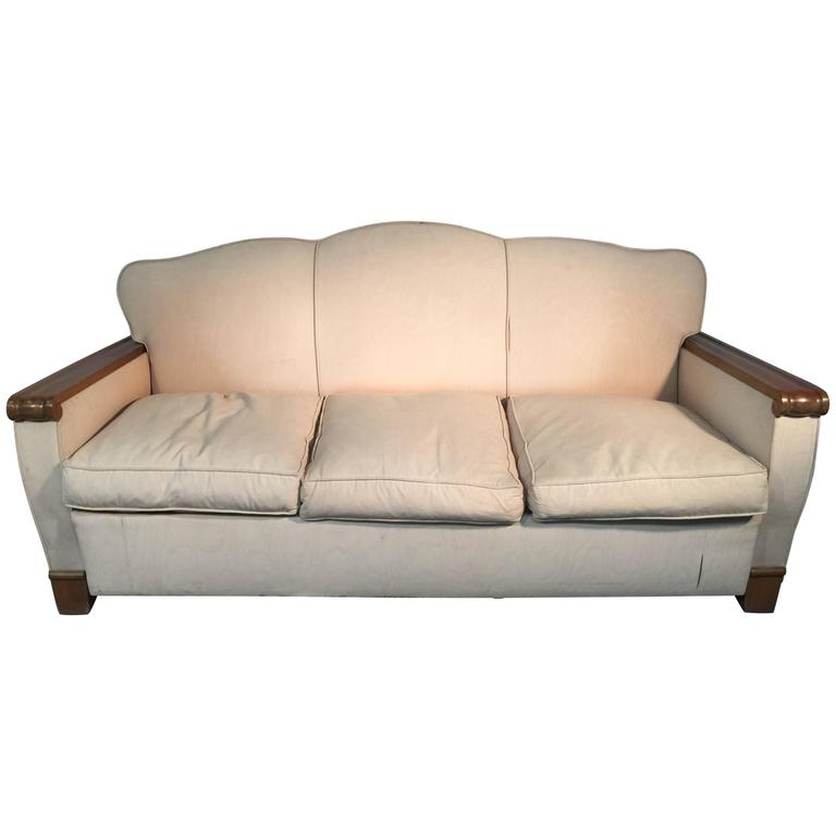 Gaston Poisson, Art Deco Blond Mahogany Sofa