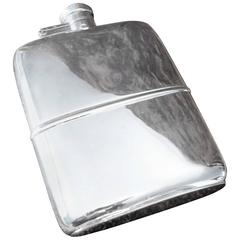Solid Silver Hall Marked Hip Flask and Cup, 1925