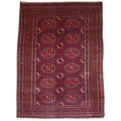 Antique Tekke Turkmen Rug of Small Size, with Fine Weave, Cochineal Color
