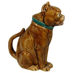 19th Century Majolica Brown Bulldog Pitcher George Dreyfus