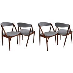 Set of Four Fully Restored and Reupholstered Kai Kristiansen Model 31 Chairs