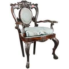 19th Century Baroque Thron Chair in Colonial Style