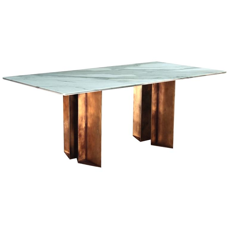 The Metropolis Marble and Brass Dining Table by Lind and Almond for Novocastrian