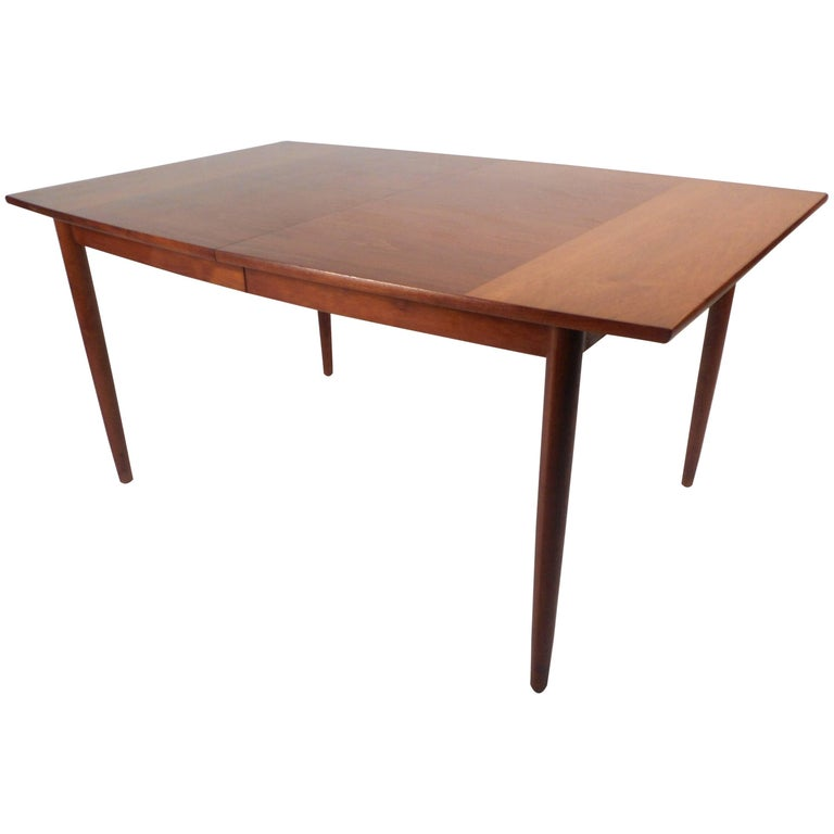 Mid-Century Modern Walnut Dining Table by Drexel For Sale