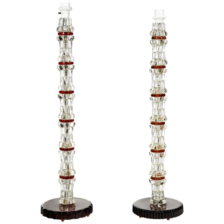 Pair of Stacked Crystal Lamps by Carl Fagerlund for Orrefors of Sweden