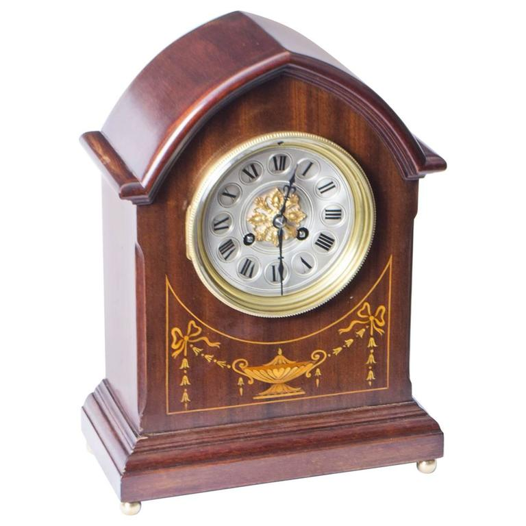 Early 20th Century French Marquetry Mahogany Mantle Clock For Sale