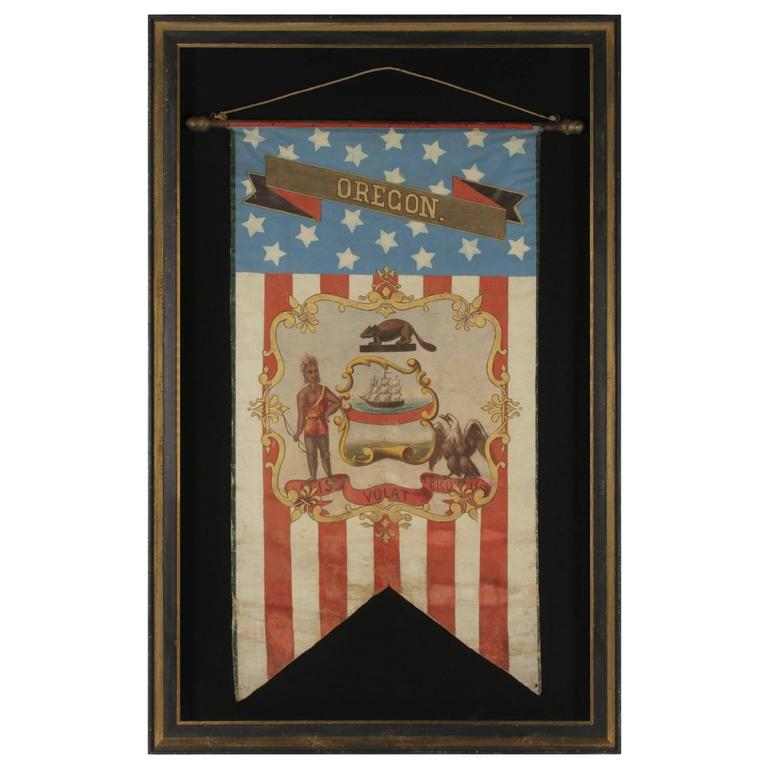 Hand-Painted Patriotic Banner with the Seal of the State of Oregon