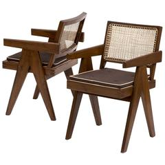 Pair of Pierre Jeanneret Armchairs in Teak and Cane for Chandigarh, 1950s