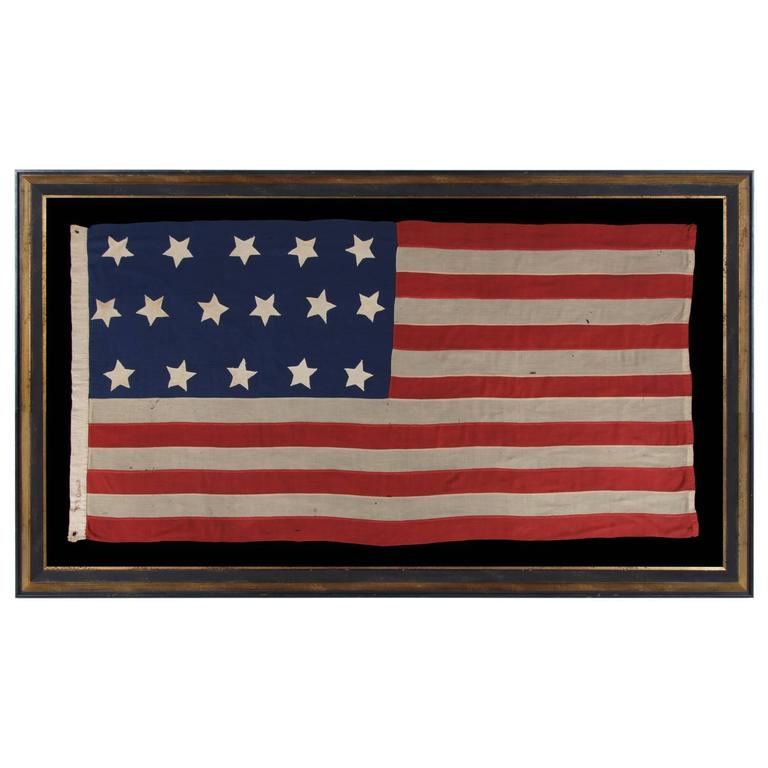 Entirely Hand-Sewn Antique American Flag with 16 Stars, Tennessee Statehood