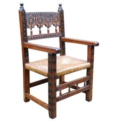 Large 18th Century Spanish Pinewood Armchair or Fauteuil