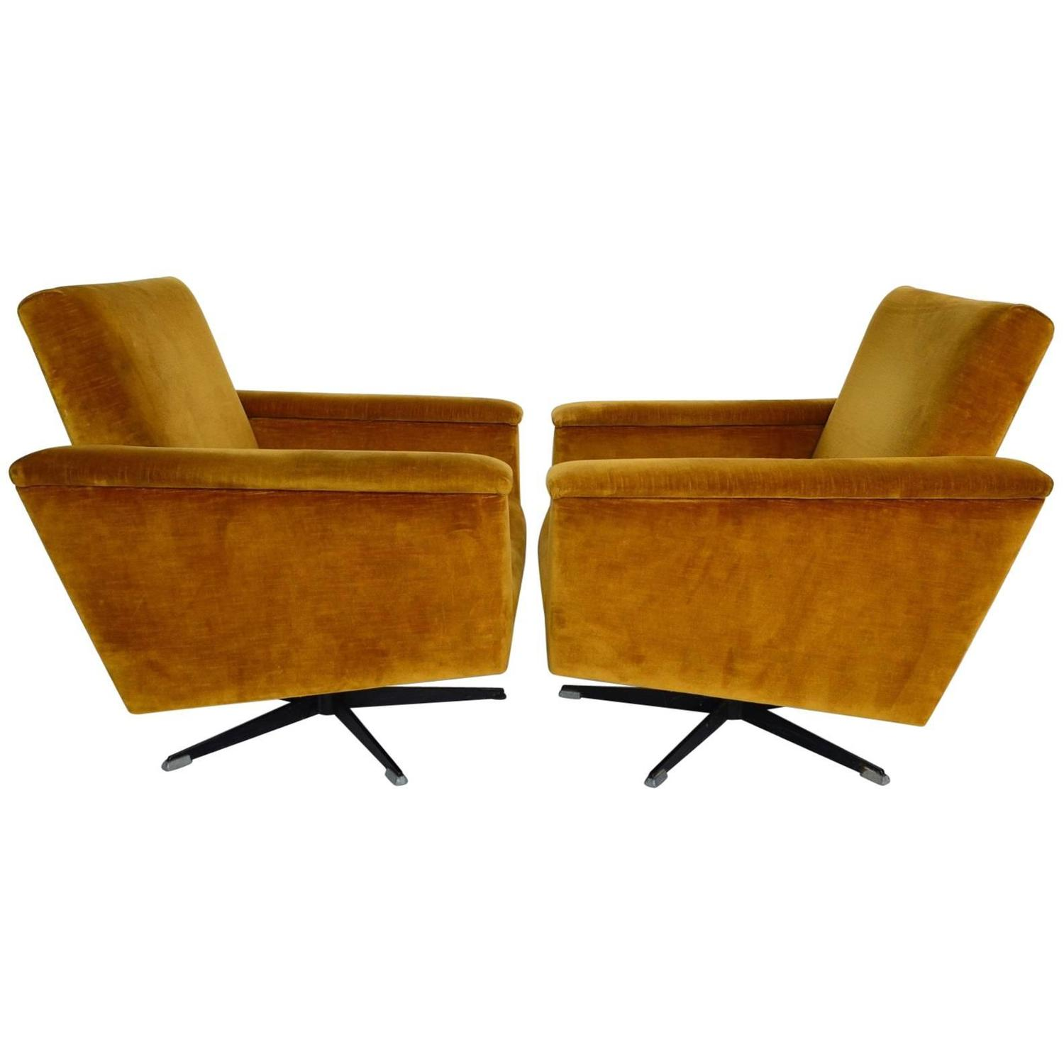 Swiss Mid Century Men s Swivel Club Chairs or Lounge Chairs in