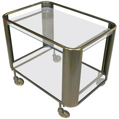 Mid-Century Modern Brass and Glass Bar Cart, France, 1950s
