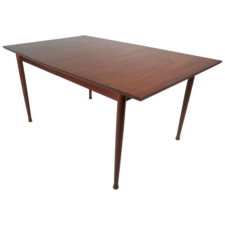 Mid-Century Modern Walnut Dining Table with Rosewood Accents For Sale