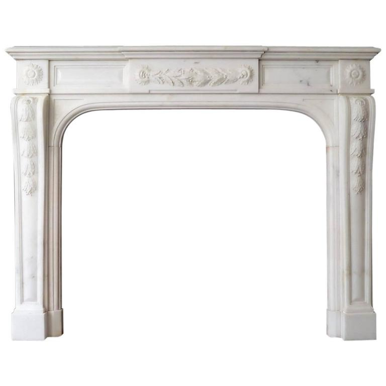 19th Century Statuary White Marble French Fireplace Mantel 1