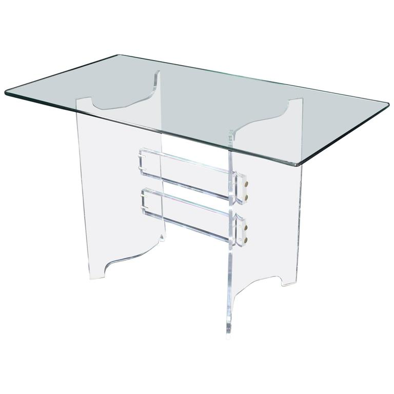 Compact Dining Dinette Console Bent Lucite Base Glass Top Table 1