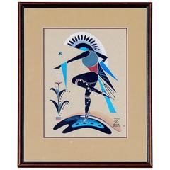 Navajo Artist Adee Dodge Gouache, 1964, Stylized Native American Dancer
