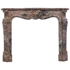 19th Century Louis XV Style Soft Rouge Marble Fireplace Surround