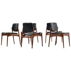 Set of Five 1960s Danish Erik Buck Teak and Leather Chairs Mod. 66 Ørum Møbler