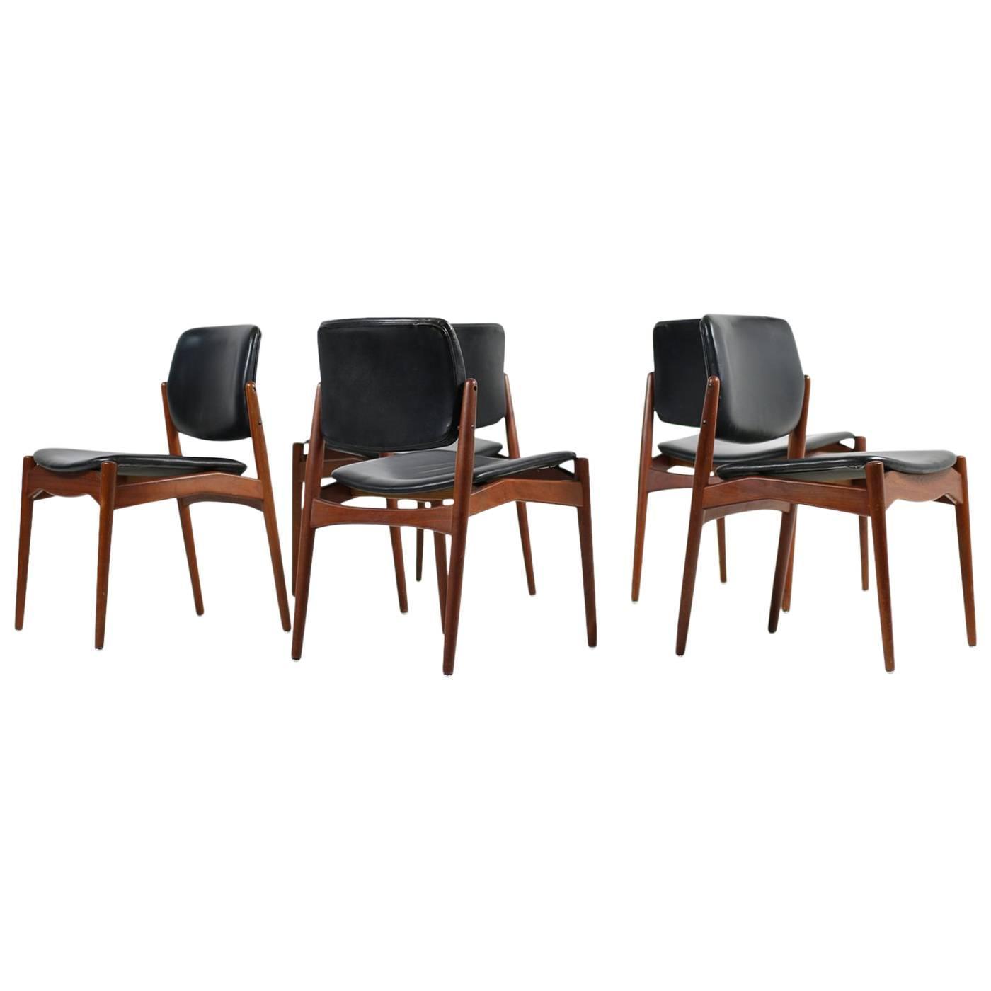 Rosewood and Teak Set of Six Erik Buck Model 310 Dining Chairs