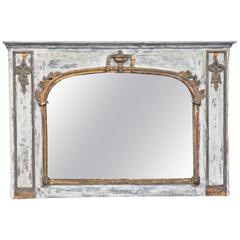 French Overmantle Mirror with Painted Finish