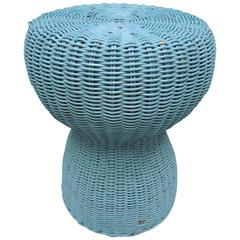 Vintage French Turquoise Blue Painted Wicker Side Table