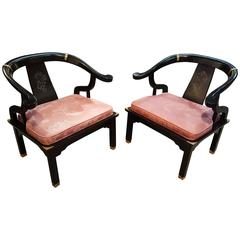 Black Lacquer Asian Inspired Horseshoe Chairs