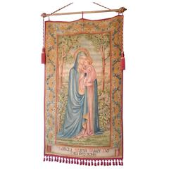 19th Century Huge Italian Religious Banner Hand-Painted