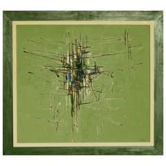 Great Abstract Modernist Painting by Italy/Brazil Artist Domenico Lazzarini