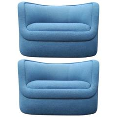Pair of Modern Biomorphic Lounge Chairs by Ward Bennett for Brickel Associates