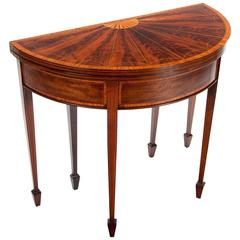 Very Fine 19th Century Inlaid Demilune Card Table
