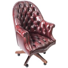 Bespoke English Handmade Leather Directors Desk Chair Burgundy
