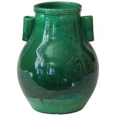 "Awaji Pottery Green Monochrome Hu Form ""Arrow"" Vase"