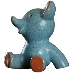 Blue Glazed Crackle Ceramic Bear