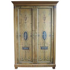 Neoclassical Armoire Cabinet with Hand-Painted Cameos