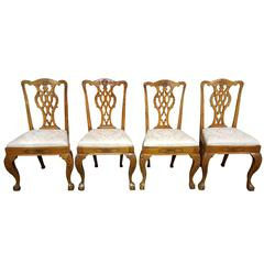Set of Four 19th Century Chippendale Style Dining Chairs