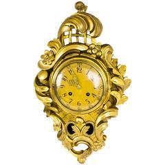 Antique Swedish Giltwood Eight-Day Striking Cartel Clock, circa 1910
