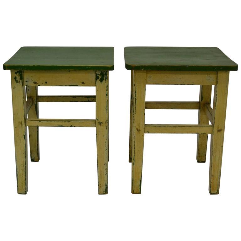 Pair Of Vintage Pine Painted Stools At 1stdibs