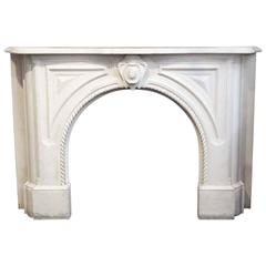 1905 Heavily Carved White Marble Rope Design Mantel from the West Village