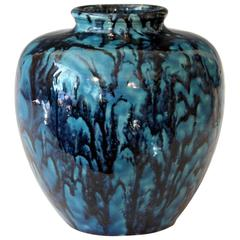 Awaji Pottery Turquoise and Blue Art Deco Flambe Drip Ginger Jar Vase