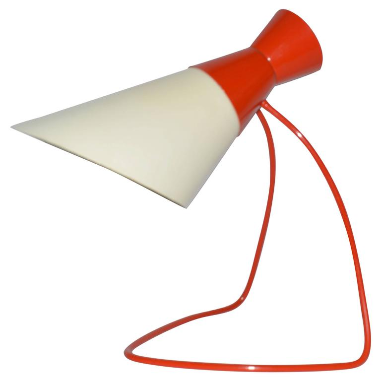 Napako Mid-Century Red and White Table Lamp, Josef Hurka, 1950s