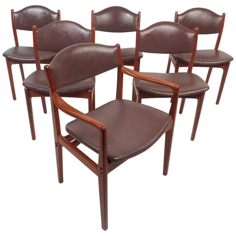 Superb Set Of Six Mid Century Modern Danish Teak Dining Chairs Bralicious Painted Fabric Chair Ideas Braliciousco